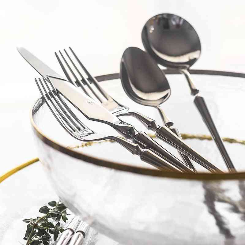 New Sliver Luxury Dinnerware Cutlery Set - Stainless Steel Dinner With Knife & Fork
