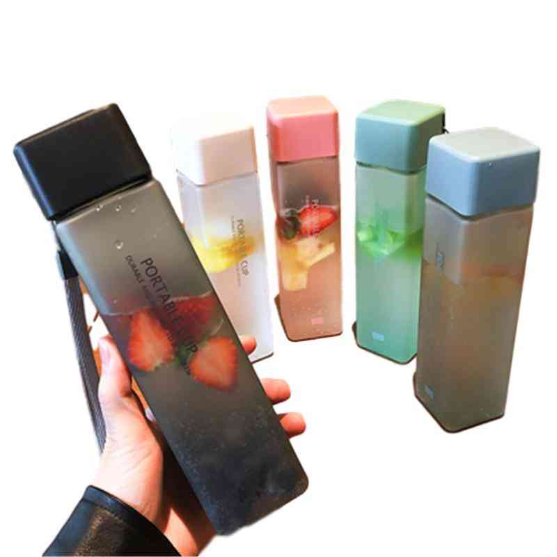 Square Portable Transparent Plastic Water Bottle For Storage Of Fruit Juice Or Water