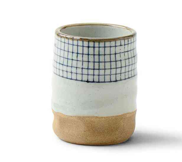 Ceramic Soup Cup Coarse Pottery Hand Painted - Lattice Pattern Teacup