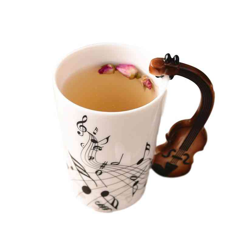 Creative Music Violin Style Guitar Ceramic Mug Coffee, Tea, Milk Stave Cups With Handle Coffee Mug