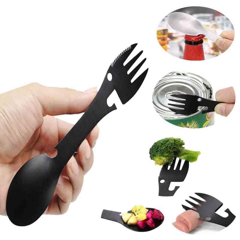 Portable Spoon Bottle Can Opener Tableware Flatware Utensil Fork Camp Multi Tool