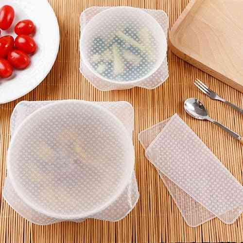 4pcs Reusable Silicone Food Fresh Keeping Stretch Wrap Seal Bowl Cover Preservative Film