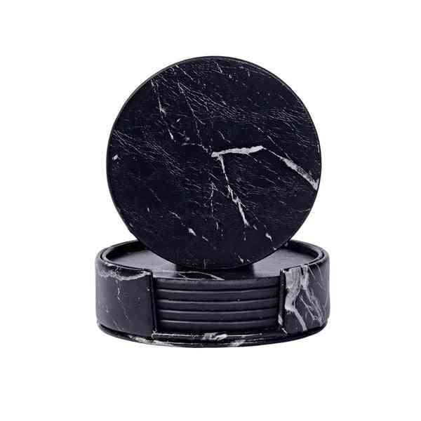 Creative Pu Leather Marble Coaster Drink Coffee Cup Mat Tea Pad Dining Table Placemats