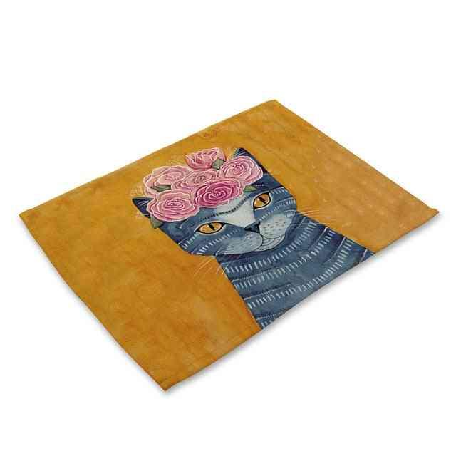 Dining Table Mats - Cute Cat Cartoon Animal Coaster Creative Printed Heat Resistant