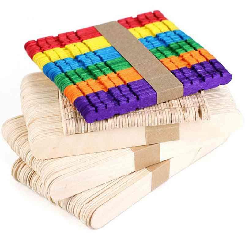 Wooden Craft Ice Cream Sticks - Pop Popsicle Sticks 50pcs
