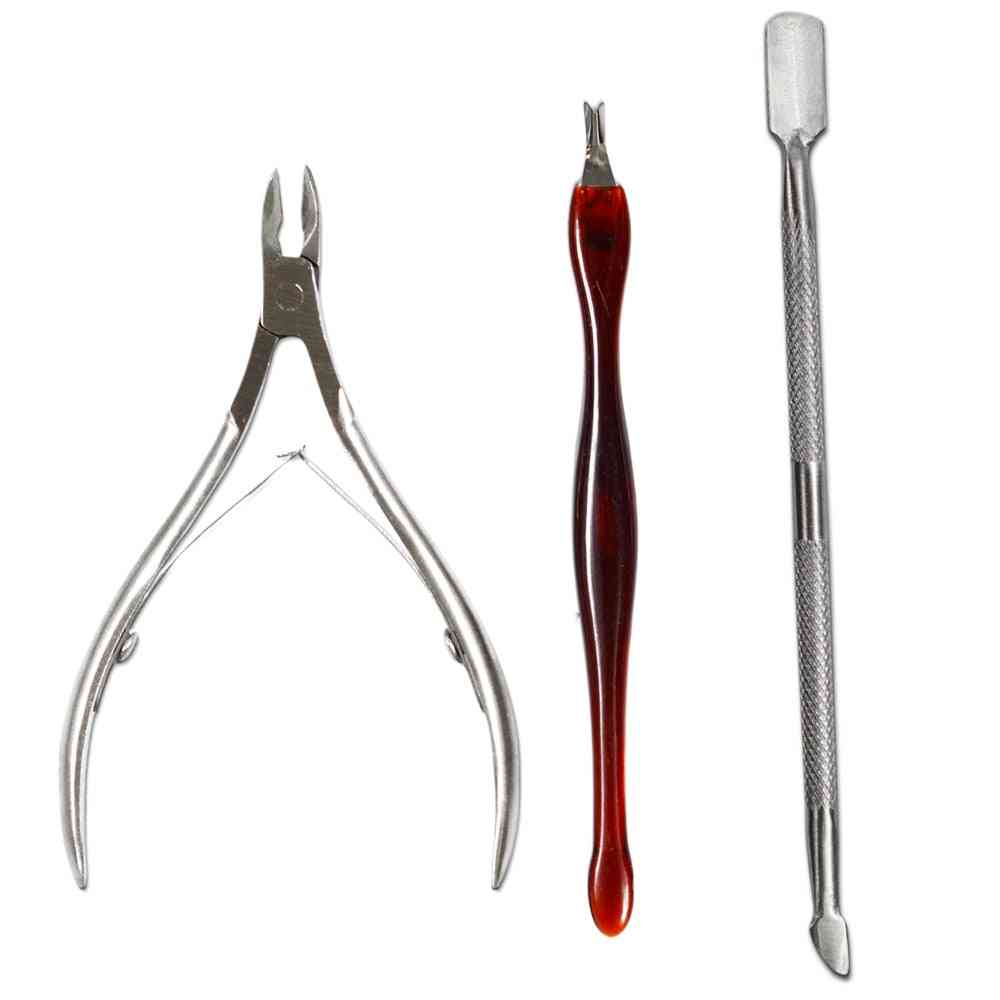Stainless Steel Nipper Fork - Cuticle Pusher, Nails Cutter, Scissor, Dead Skin Remover