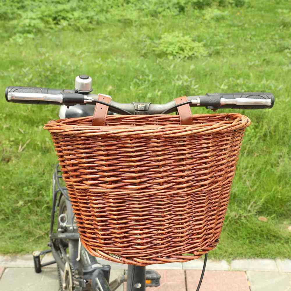 Bike & Bicycle Front Storage Basket With Leather Belt - Handmade Natural Rattan, Cargo Container