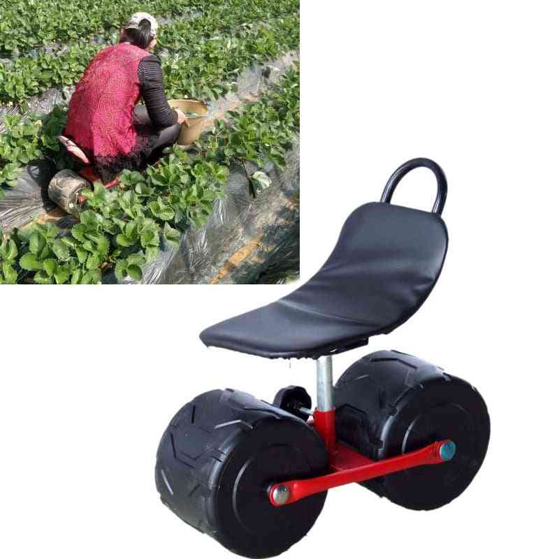 Firm Iron Comfortable Pu Sponge Seat Pad Moving Chair With Wheels - Garden Planting Picking Stool