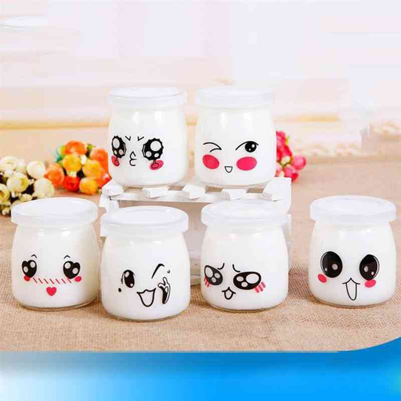 Cute Heat Resistant Glass Bottle Jar, Pudding Containers