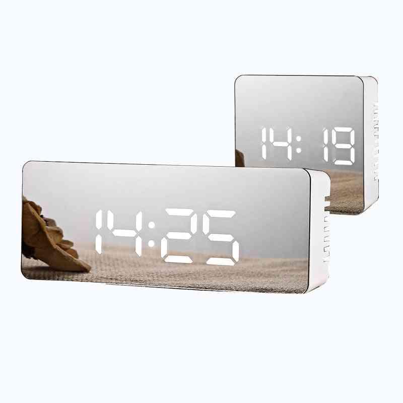 Led Mirror Digital Temperature Display Alarm Clock