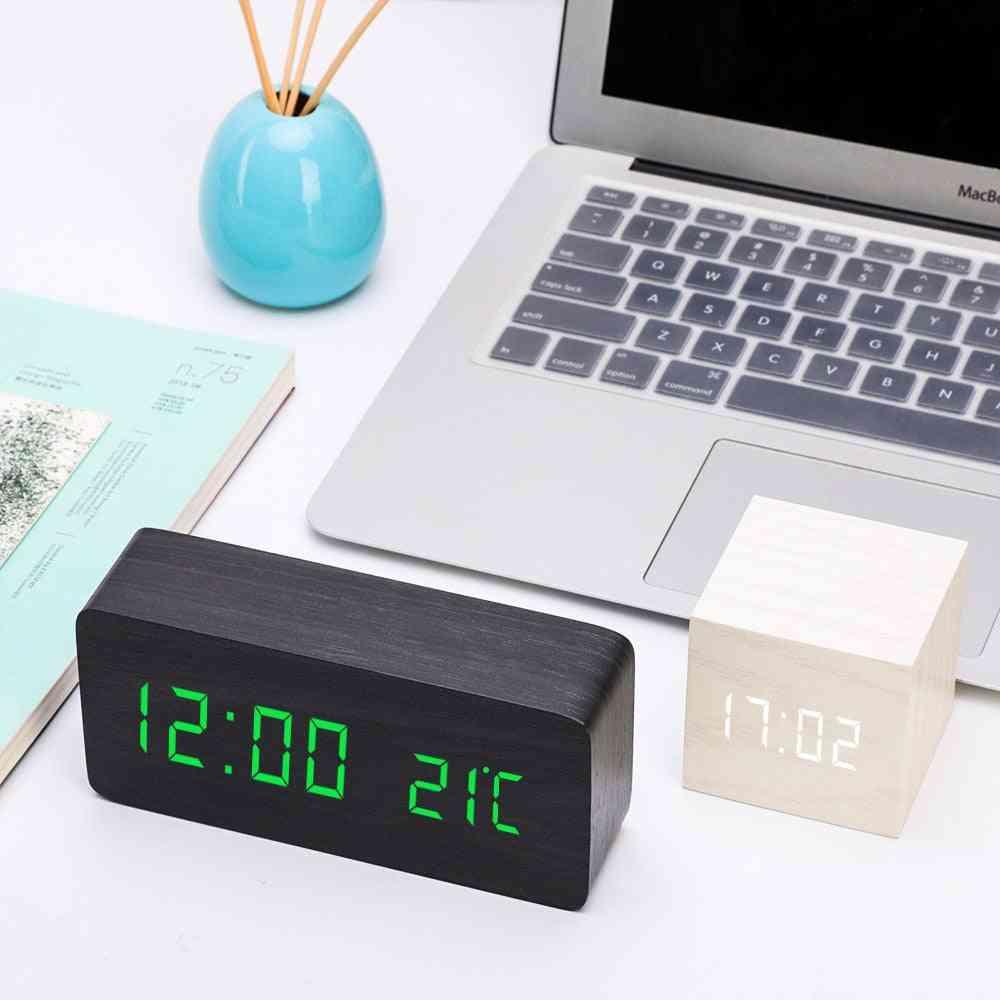 Led Wooden Voice Control Alarm Clock
