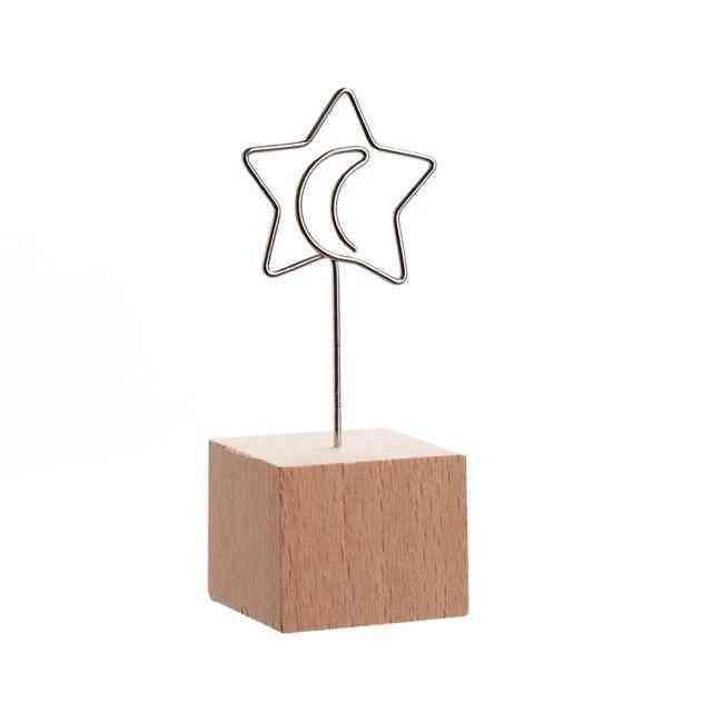Creative Round/square, Wooden Photo Clip Memo Name Card Holder