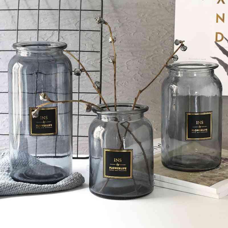 Nordic Design Glass Vase - Tabletop Flower Holder