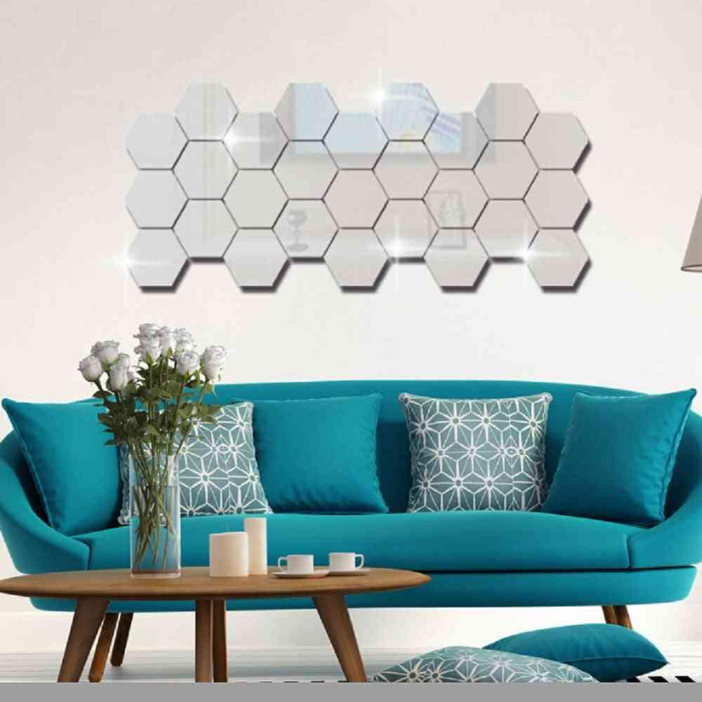 3d Geometric Hexagon Mirror Wall Sticker