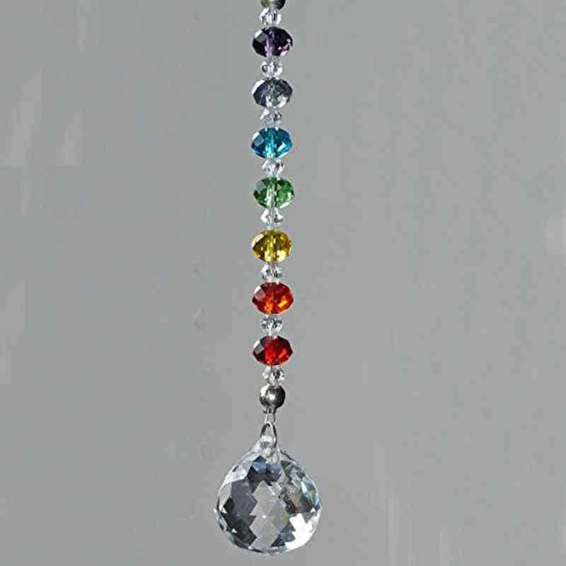 Crystal Prism Ball Chakra Beads Strand -rondelle  Hanging