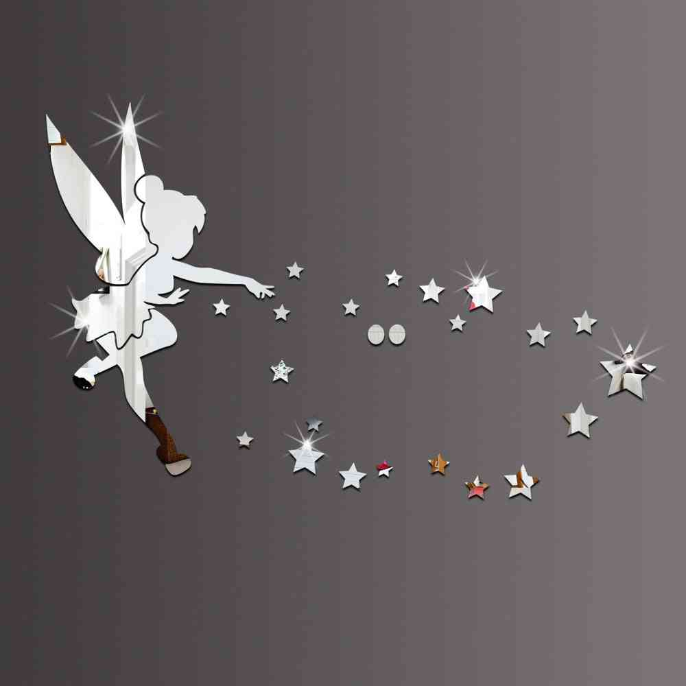 Angel & Stars Acrylic Diy Decorative Mirror 3d Wall Stickers