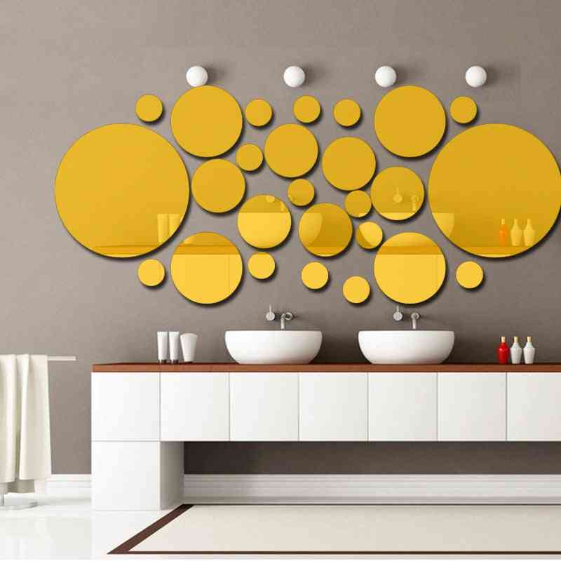 Circle 3d Stereo Removable Mirror Wall Stickers Bathroom Wall Stickers 26pcs