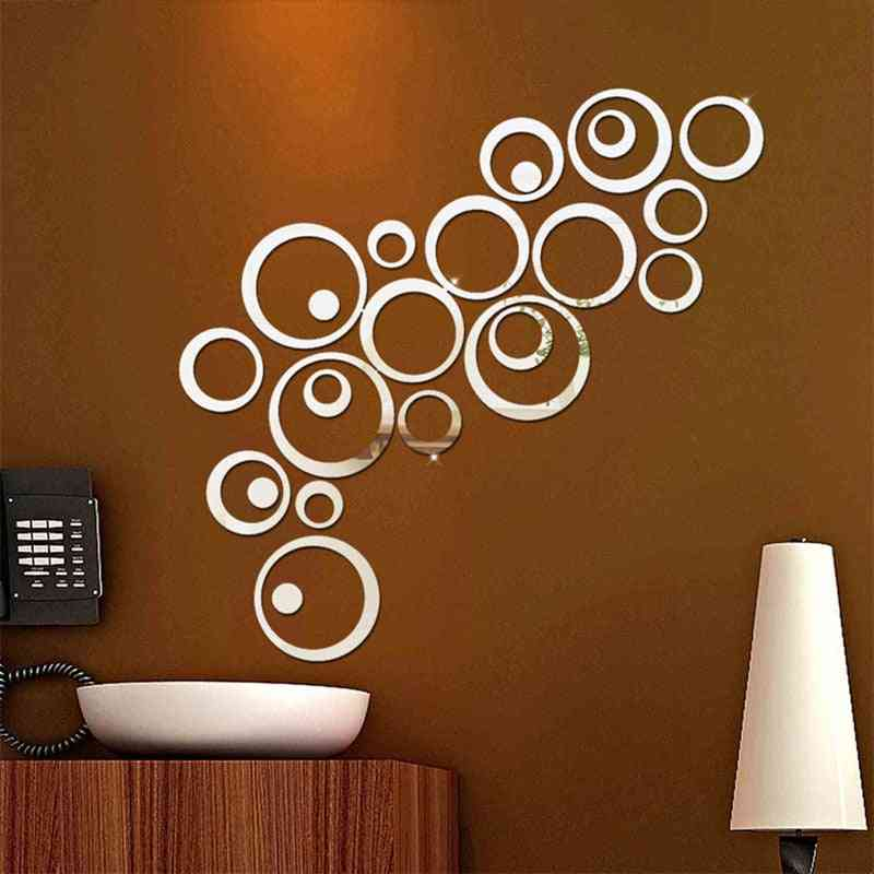 Fashion Delicate 3d Circle Decorative Mirror Sticker - Home Wall Diy Stickers