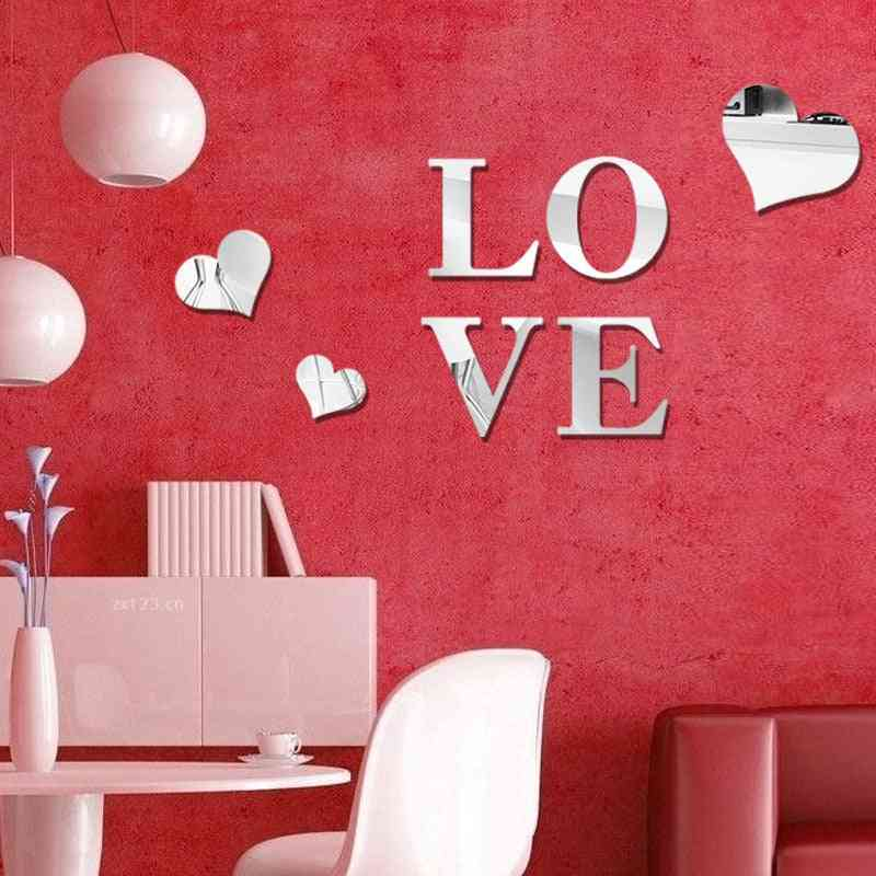 Home Love Pattern -furniture Mirror Effect Decor Wall Art
