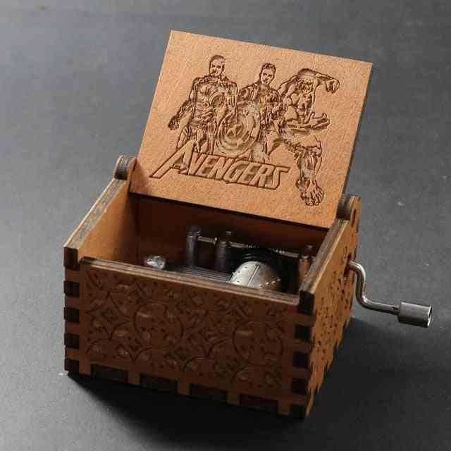 Avengers Engraved Wooden Hand Crank Music Box