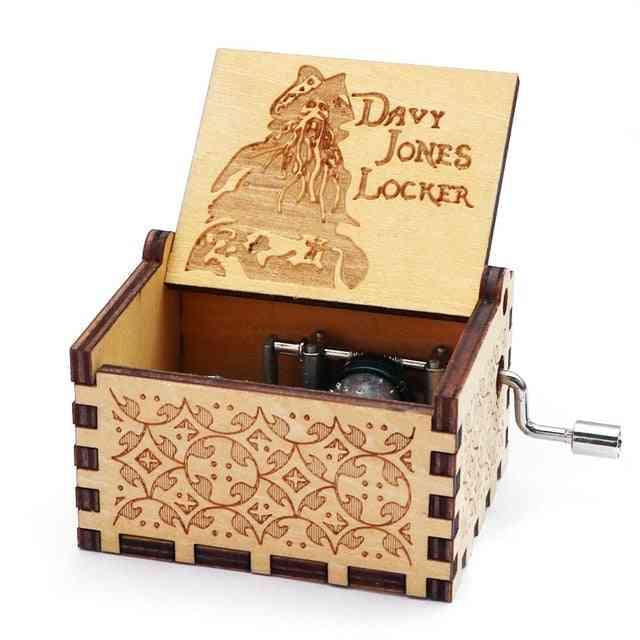 Engraved Wooden Hand Crank Tiny Music Box