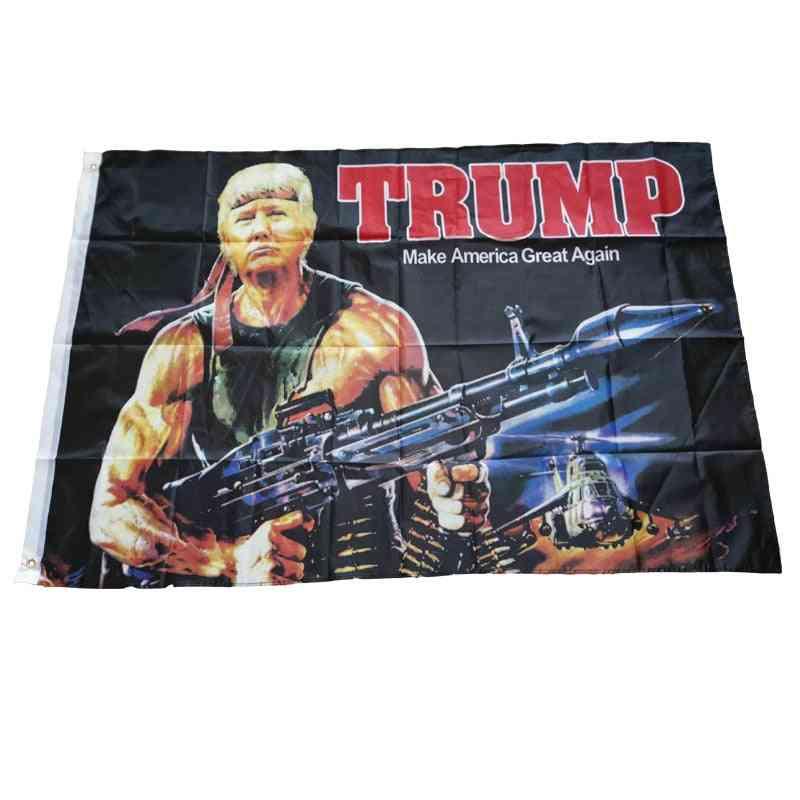 Creative Donald Trump Gun Pattern American Hanging Flag
