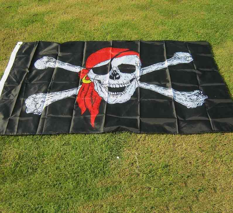 Aerlxemrbrae Flag Huge Skull And Cross Crossbones Jolly Roger Pirate Flag - Holloween Hanging Decoration