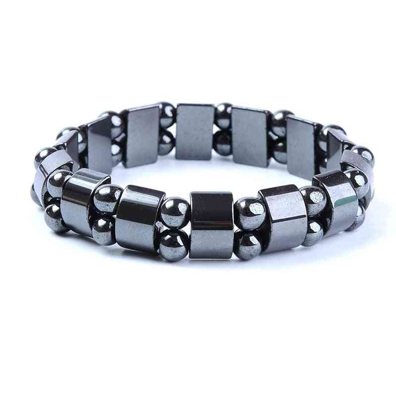 Weight Loss Round Black Stone Magnetic Therapy Bracelet - Health Care Magnetic Stretch Bracelets