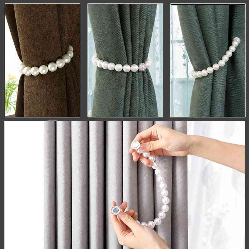 Pearl Simple Tie Curtain Magnet Buckle Rope - Curtain Holder Decor Pearl Rope Tie