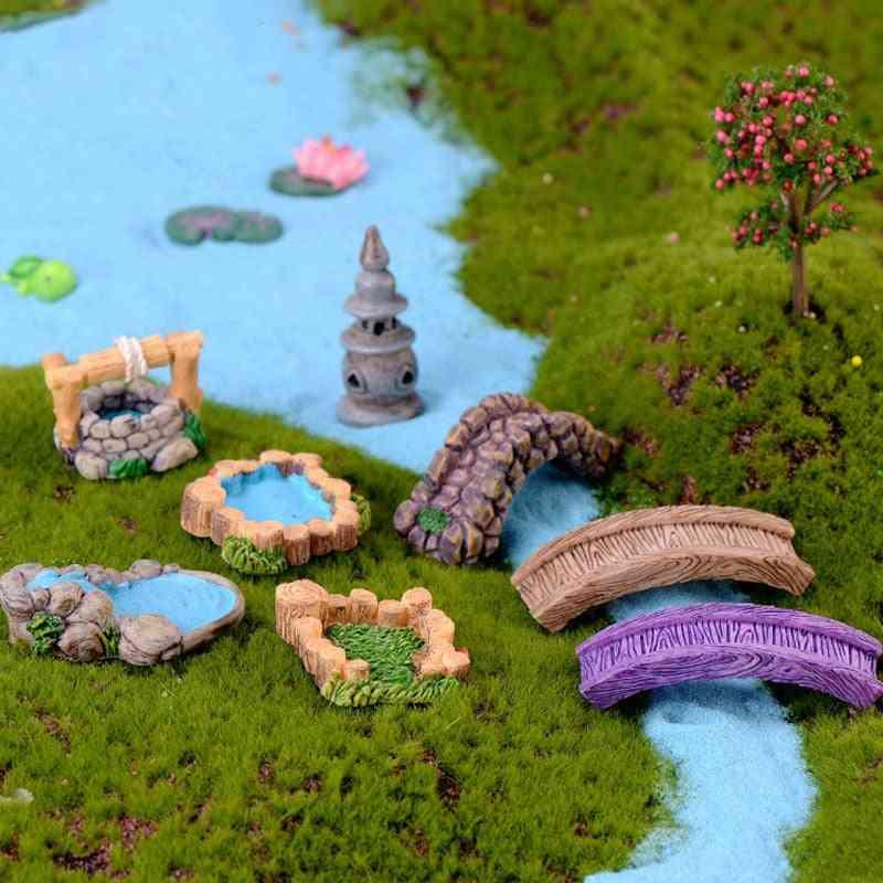 Diy Garden Decor Ornament - Fairy Garden Craft Mini Lighthouse Water Well Bridge Figurines Miniature