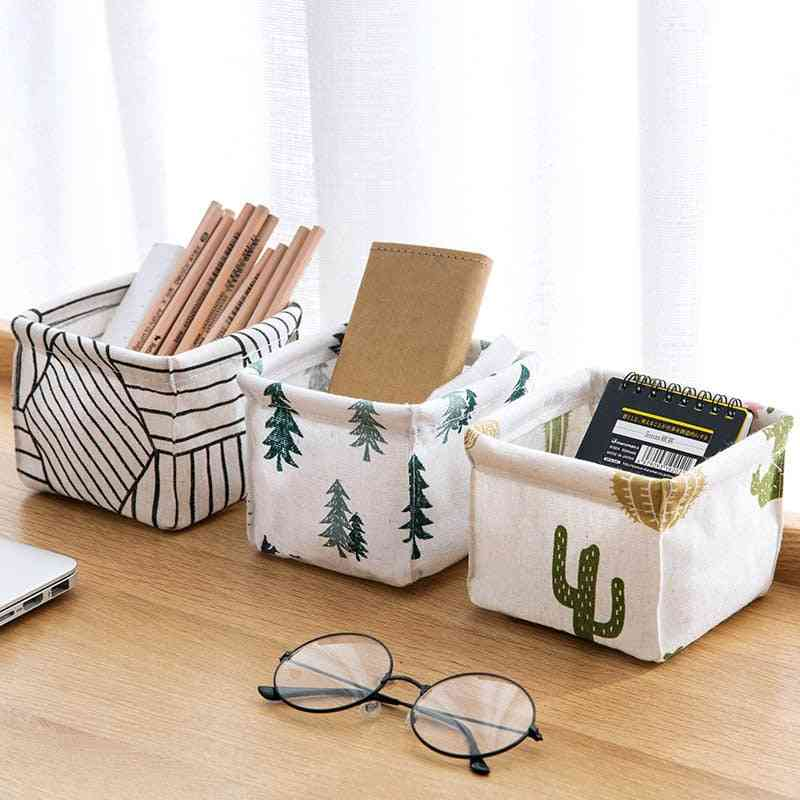 Multifunction Foldable Printed Cosmetics Container Sundries Storage Basket