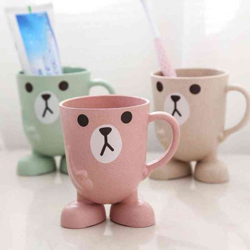 Cartoon Animal Wheat Straw Toothbrush Cup Holder For Bathroom, Outdoors And Travel