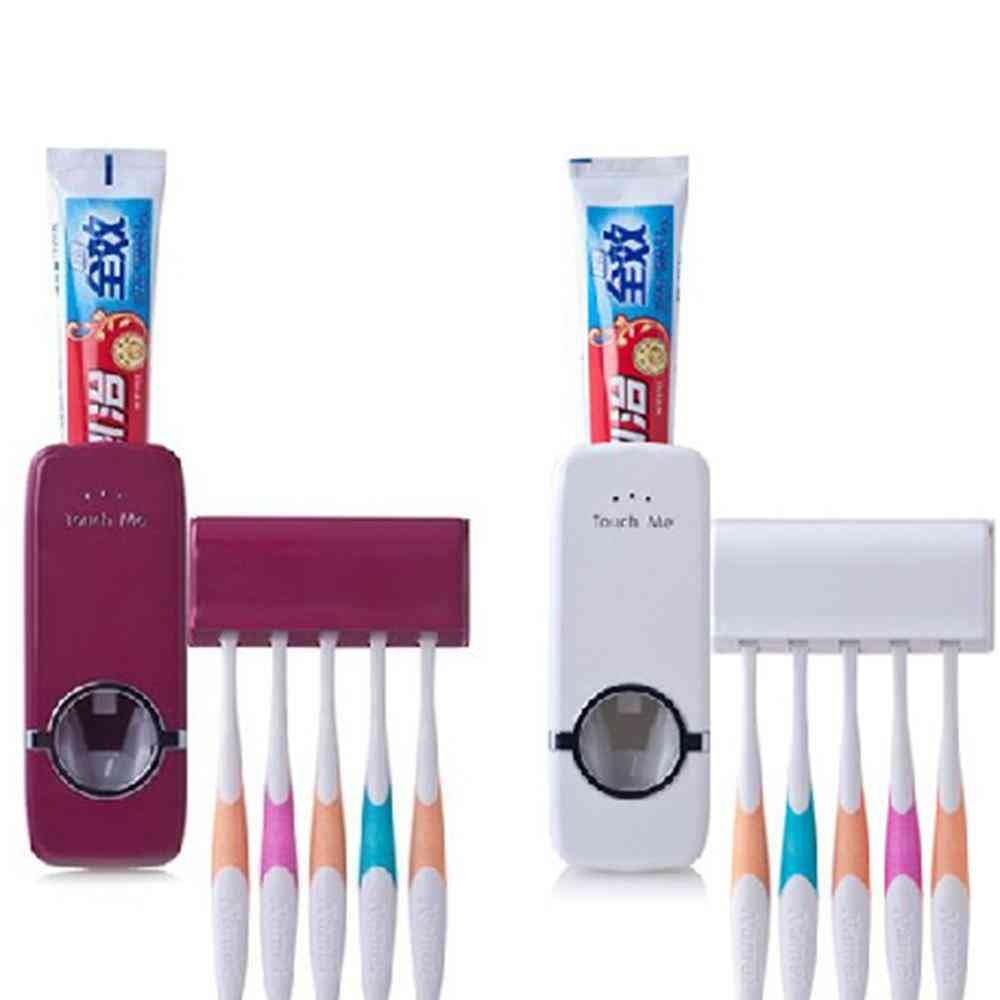 1 Set Creative Plastic Automatic Toothpaste Squeezer & Lazy Toothbrush Holder