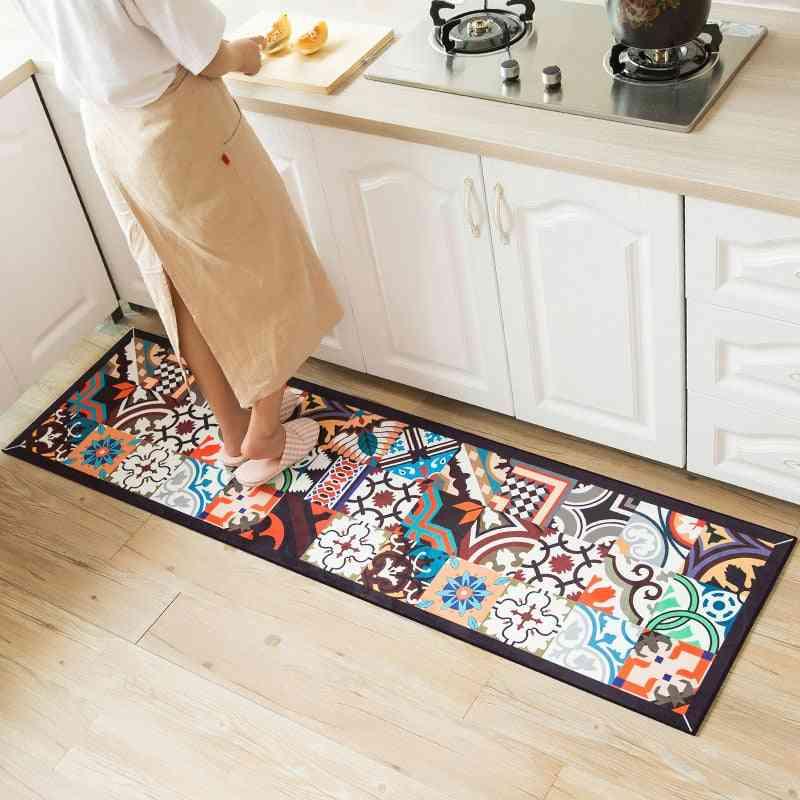Ethnic Printed Dirt Proof Long Carpet Non-slip Rug Set - Hallway Doormat Bedside Floor Mat