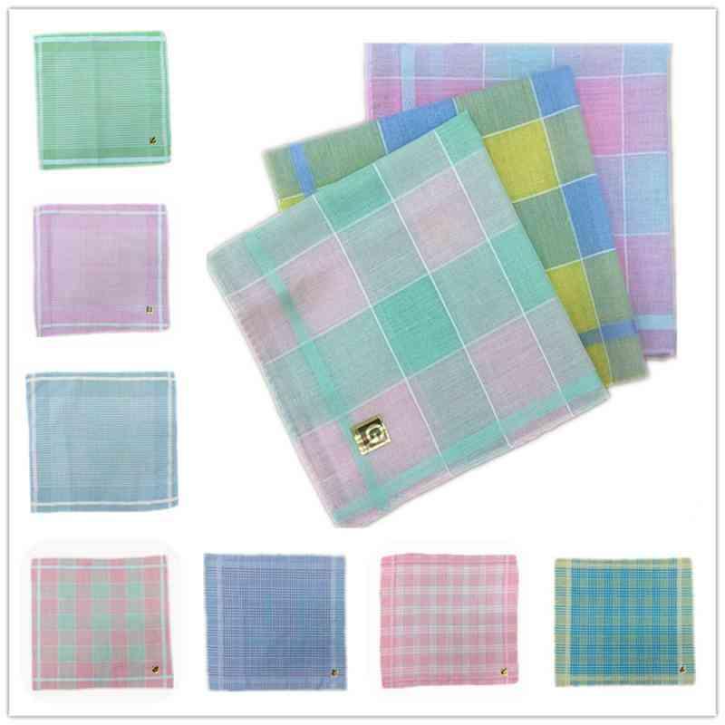 Retro Polyester Cotton Plaid Ladies Handkerchief