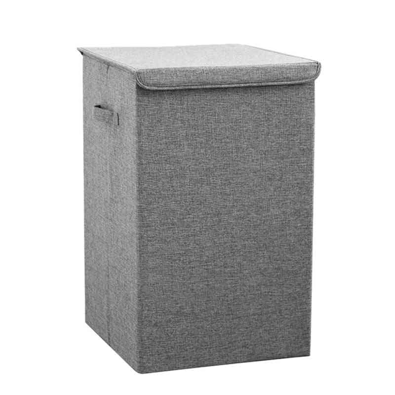 Collapsible Waterproof Cotton Laundry Basket With Cover - Large Kitchen Storage Basket
