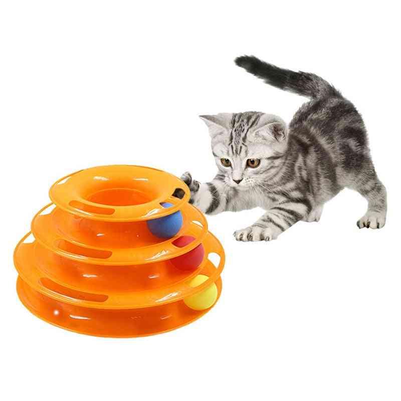 Intelligence Amusement Pet Cat Tower Tracks - Triple Play Disc Ball Training