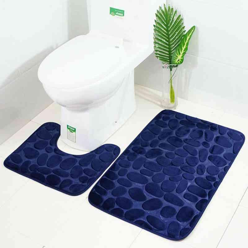 Flannel Toilet Lid Anti Slip Liner Memory Foam Bath Rugs - Durable Soft Floor Home Anti Slip Liner Memory Foam Cover
