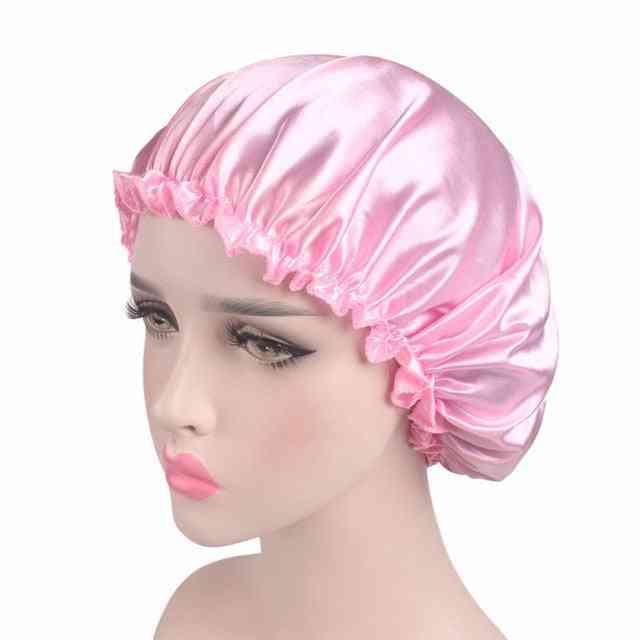 Satin Silk Bonnet Sleep Cap With Elastic Band - Women Sleep Night Headwrap Hair Loss Cover