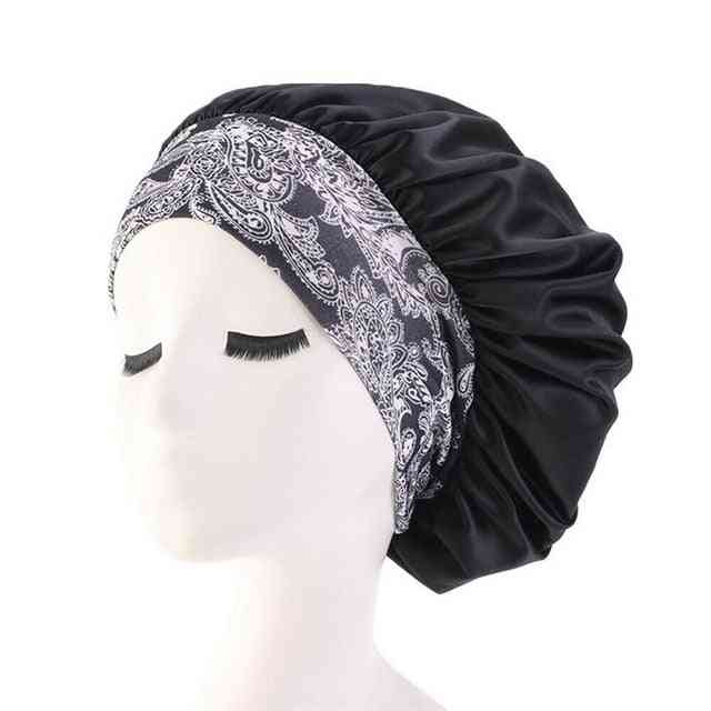 Ruffle Style Wide Band Elastic Waterproof Reusable Comfy Shower Cap