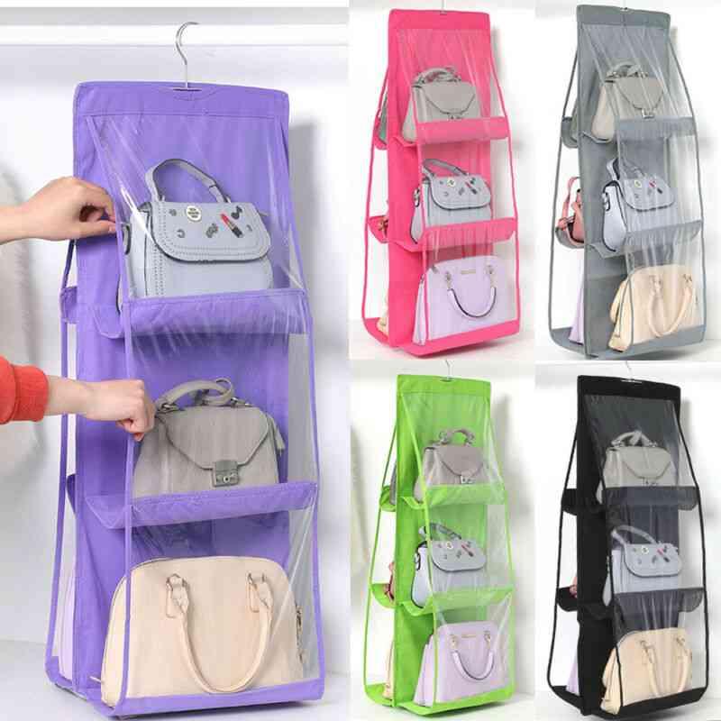 Products 6 Pocket Foldable Hanging Bag Folding Organizer With 3 Layers - Storage Closet Hanger
