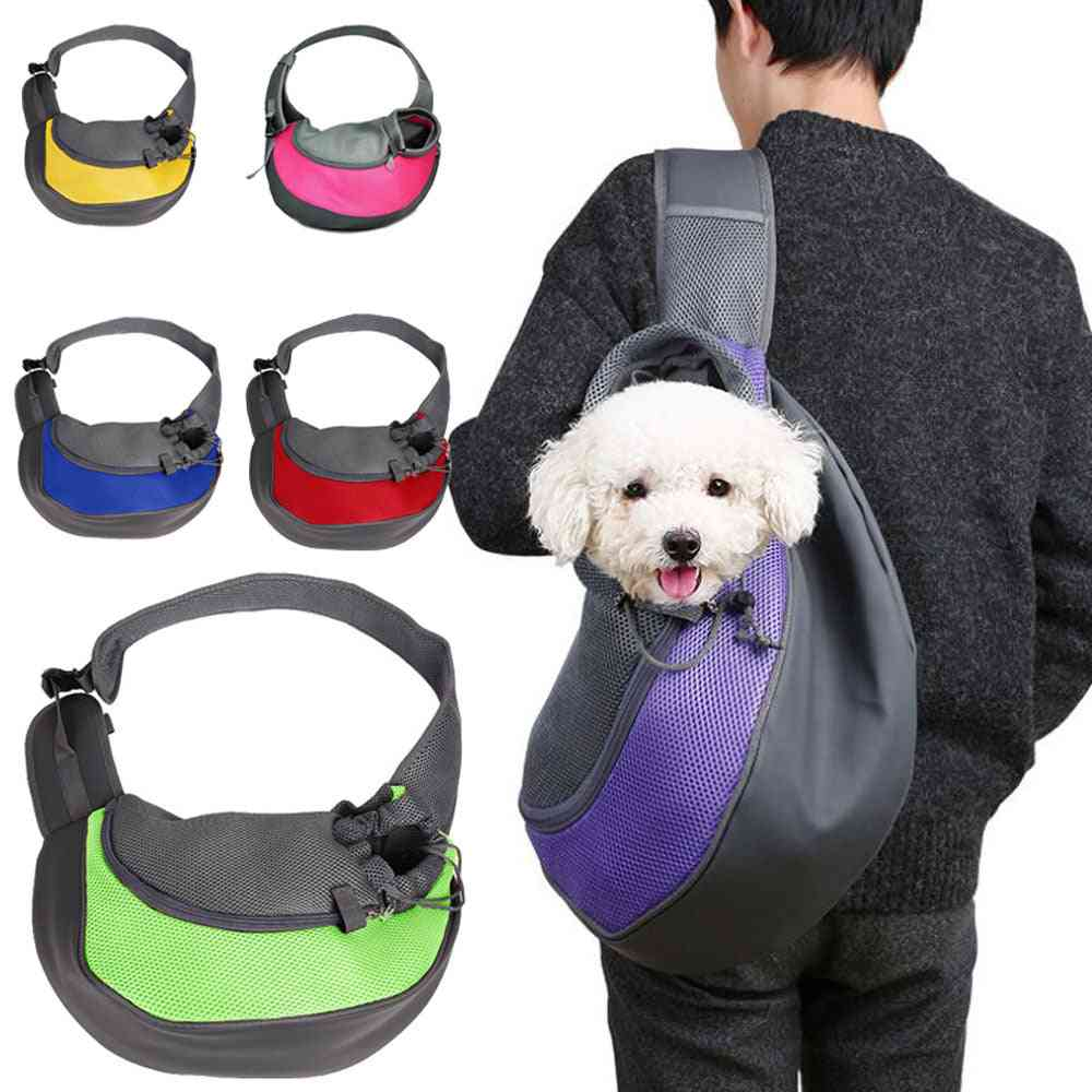Pet Puppy Carrier For Outdoor & Travel - Pouch Mesh Oxford Single Shoulder Bag - Sling Mesh Comfort Travel Tote