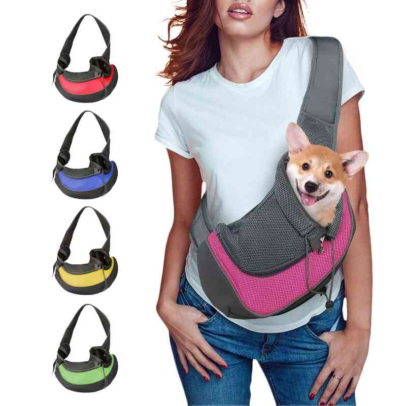 Mesh Oxford Single Comfort Sling - Pet Puppy Shoulder Bag , Carrier S/m For Outdoor & Travel