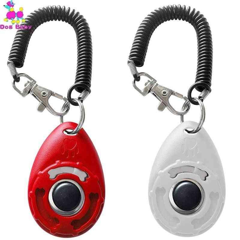 New Plastic Pet Cat Dog Training Clicker - Adjustable Wrist Strap Sound Key Trainer Aid