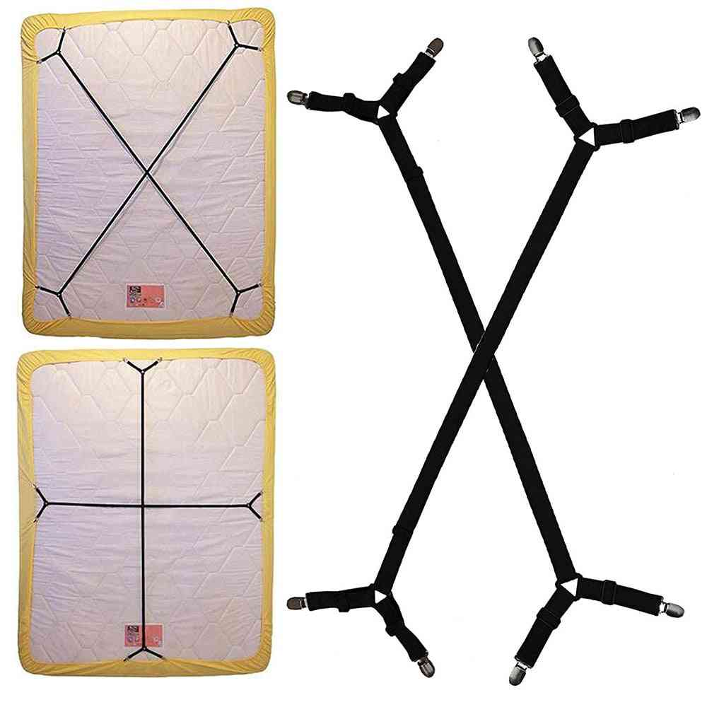 4 Corner Long Adjustable Elastic Bed Sheet Holder Strap - Mattress Clip Fasteners Cover Blankets Grippers Fixing Non Slip Strap