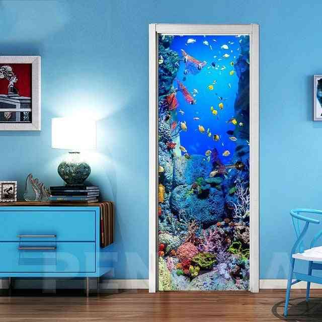 3d Self Adhesive Door Wall Art Decal On Fish Bottom World Sticker For Home Door Decoration