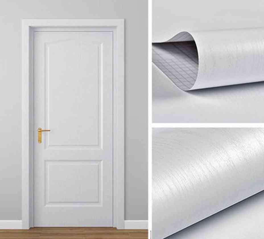 Modern Waterproof Wood Grain Door Sticker Adhesive Wallpaper - Wooden Door Renovation