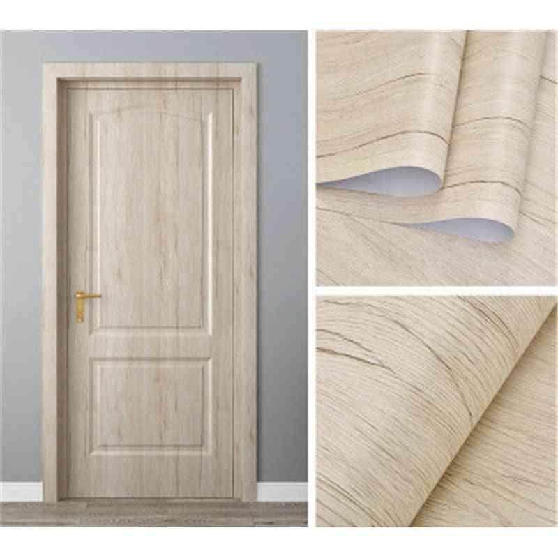 White Oak Wood Grain On The Door Wallpaper - Home Renovation Decor Sticker