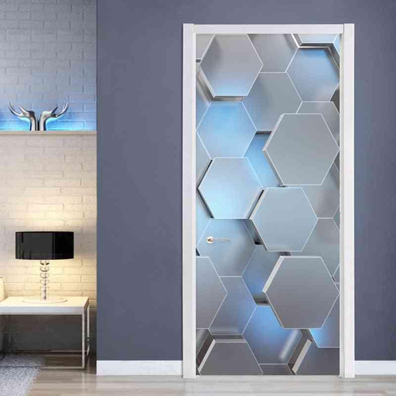 Modern 3d Stereo Geometric Door Mural Pvc Self Adhesive Waterproof Wall Sticker