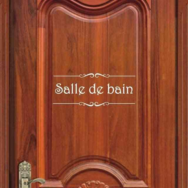 French Bathroom Toilettes Vinyl Wall Sticker - Toilet Door Sticker Mural Decals